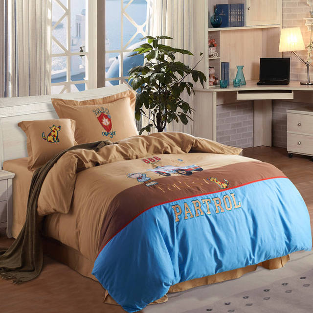 Cartoon Jeep Cars Lique Embroidered Bedding Sets Twin Full Queen Size Duvet Covers Bedspreads Cotton Woven