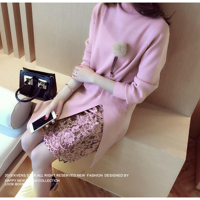 2018 Fashion Women Winter Dress Turtleneck Vestido De Renda Knitted Sweater Dress Sexy Office Dress Women Sweaters Pullovers 936