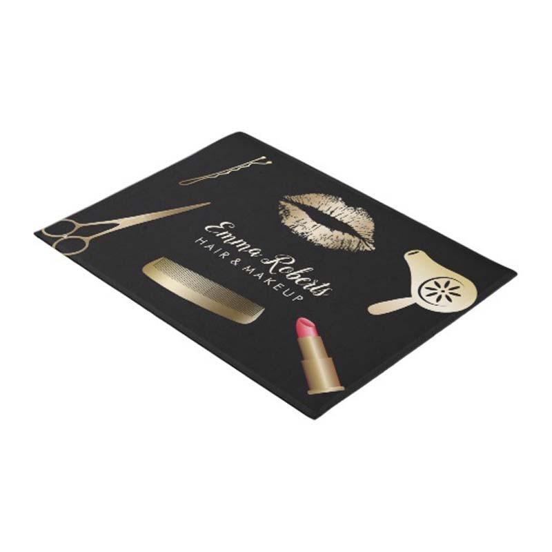 Makeup Artist Hair Salon Black Gold Welcome Doormat Home Decoration Entry Non slip Door Mat Rubber