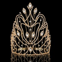 8 inch Luxury Bridal Tiara big crystal Queen Crown Wedding Hair Accessories diadem headband Pageant Hair Ornaments Headdress