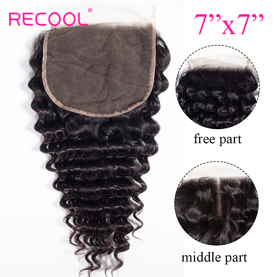 Recool Hair Deep Wave Closure 100 Human Hair 7x7 Lace Closure Free Middle Part Curly Brazilian