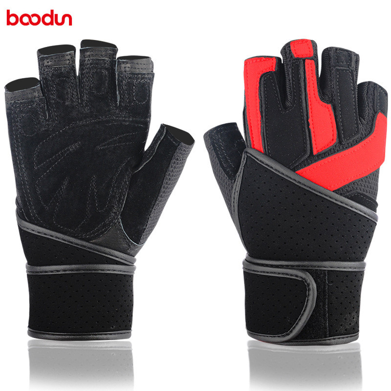 BOODUN Men Fitness Weight Lifting Gloves Breathable Lengthen Wear Resistant Stair Cloth Outdoor Body Building Equipment 7150169