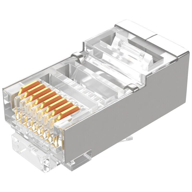 SAMZHE RJ45 Connector Cat5e Shielded Copper shell Network Connectors RJ45 Plug Terminals 30/50/100pcs per lot