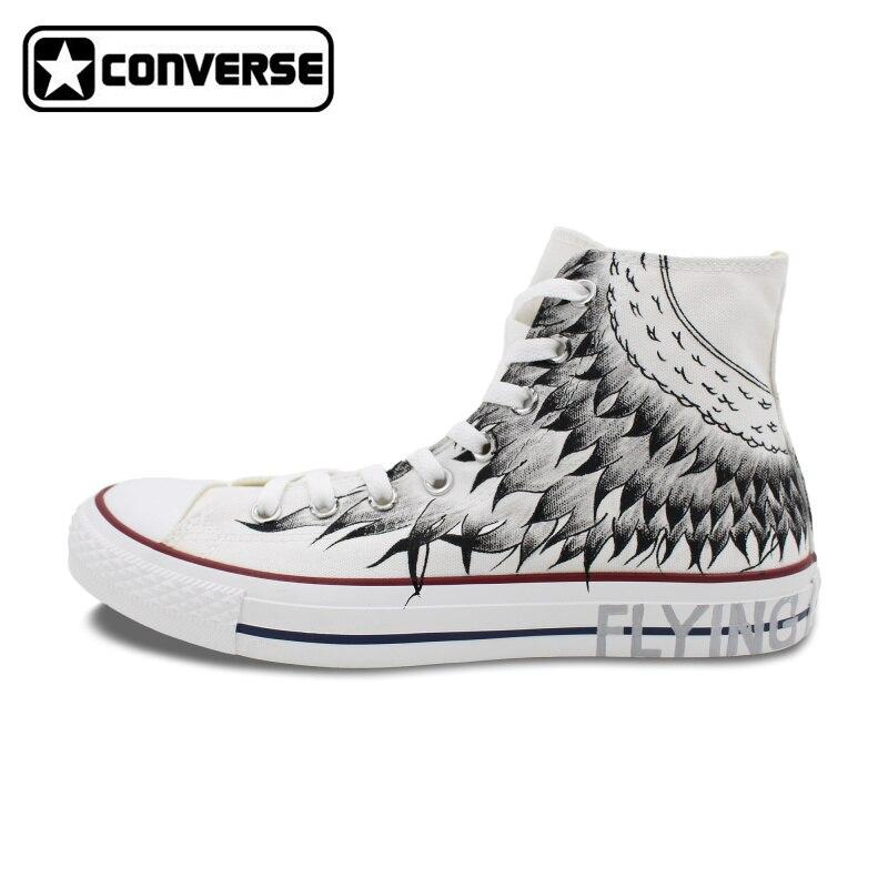 Prix pour Hommes Femmes de Converse All Star Design Original Sneakers Homme Femme Peint À La Main Chaussures High Top Planche À Roulettes Sneakers