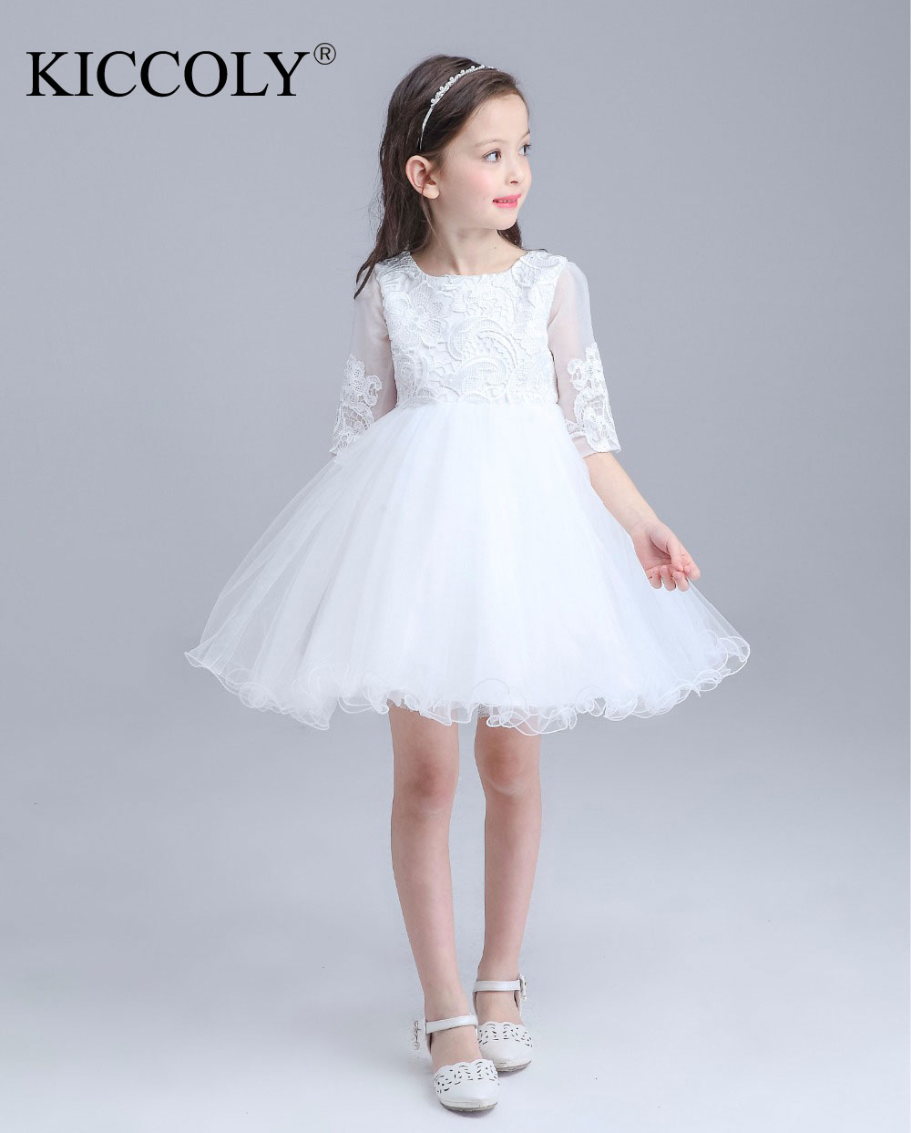 Kids Girls Bridesmaid Wedding Prom Party Ball Gown Formal Flower Party Dresses 2016 Toddler Infant Nine Quarter Princess Dresses kids girls bridesmaid wedding toddler baby girl princess dress sleeveless sequin flower prom party ball gown formal party xd24 c