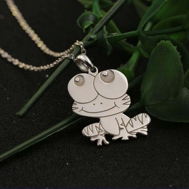Solid silver drawing frog pendant kids necklace personalized solid silver drawing frog pendant kids necklace personalized stamped animal pattern chirlden necklace birthday christmas gift mozeypictures Image collections