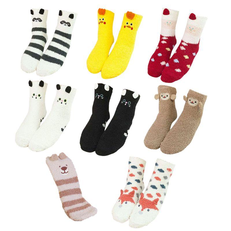 Women Girls Colorful Indoors Fluffy Fuzzy Slipper Socks, 3D Cute Animals Winter Warm Crew Fuzzy Socks Value Pack