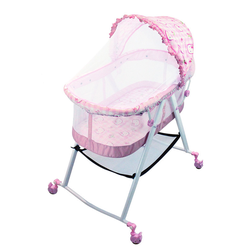 TMultifunction Cradle Bed Newborn Cradle Shaker Cribs Bed With Rolling Wheel Containing Mosquito Net Can Be Folded multifunctional newborn crib cradle sleeping bed soft baby cradle shaker cribs bed rolling wheel baby basket mosquito net c01