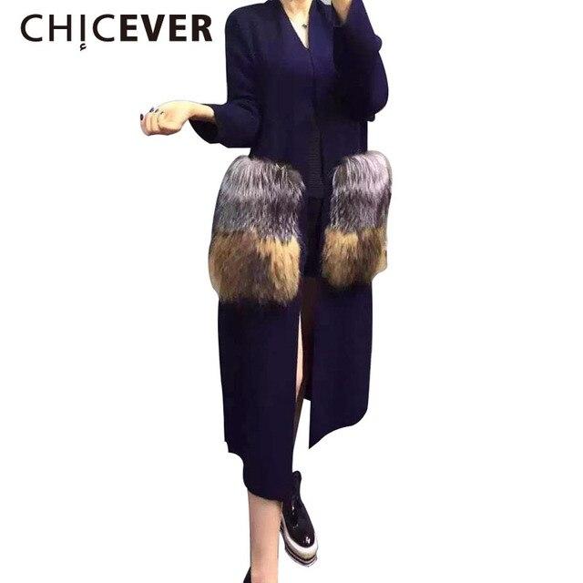 [CHICEVER] 2017 зима съемный большой меховой кармана длинный кардиган nitted мода ветровка пальто для женщин новые