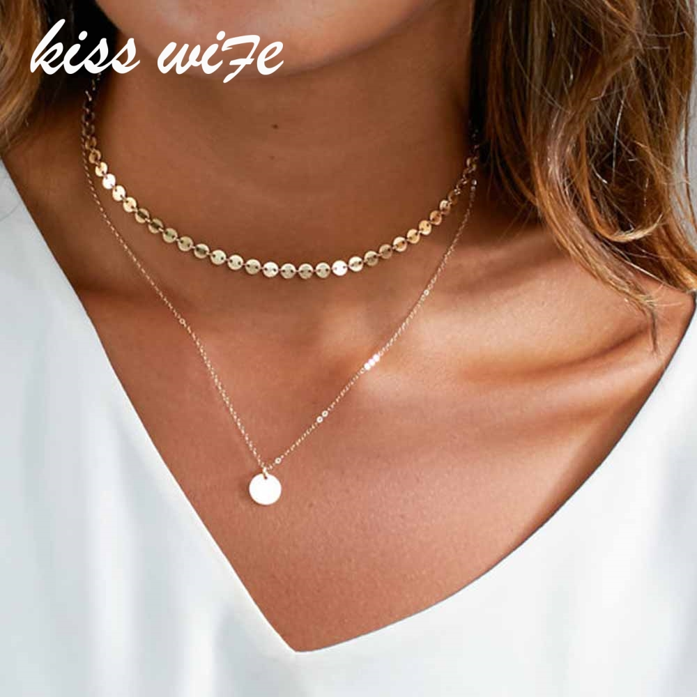 Gold Coin Layered Necklace Set For Women