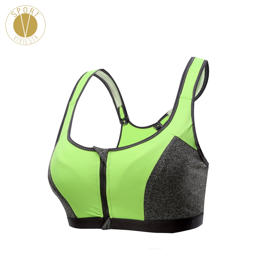 High Impact Push Up Sports Bra – Women's Run Running Training Anti Shock Wireless Front Zipper Double Layer High Support Bra Top