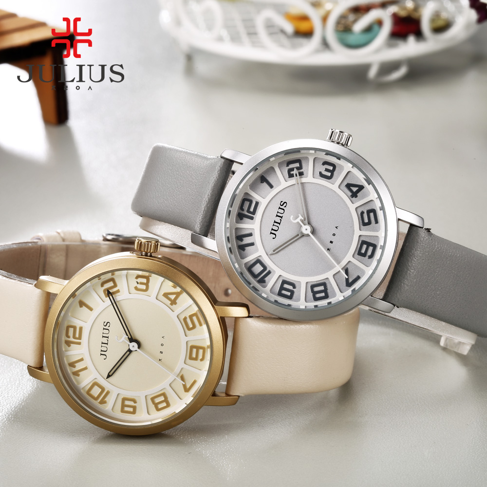 New Lady Women's Watch Japan Quartz Large Number Fine Fashion Hours Dress Bracelet Simple Leather Girl Birthday Gift Julius Box top julius lady women s watch japan quartz elegant rhinestone large number fashion hours dress bracelet leather big girl gift
