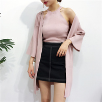 New Collection Autumn Women Fashion High Street Knitting Cotton Hang Tank And Loose Three Quarter Sleeves