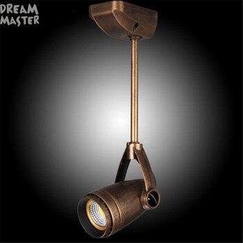 Rustikalen COB LED Decke Scheinwerfer Retro Stil Industrie Hängenden Pol Licht Bronze Schwarz Vintage Lampen Für Shop Cafe Spot Licht