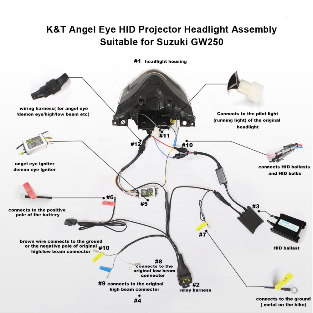 hight resolution of kt headlight for suzuki gw 250 2013 led angel eye motorcycle hid projector assembly on aliexpress com alibaba group