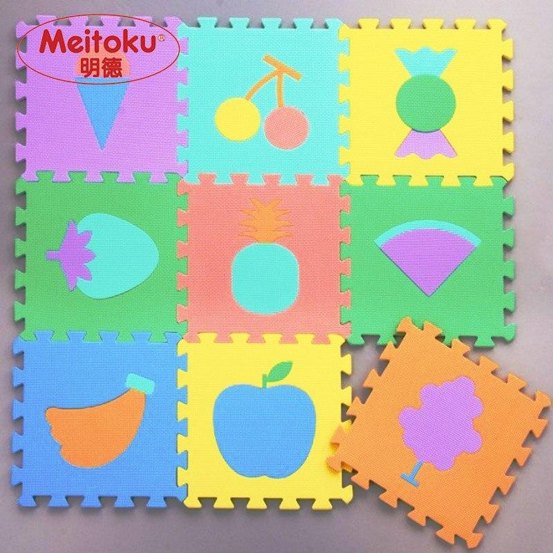 "Meitoku התינוק EVA קצף לשחק מחצלת פאזל / פירות מחצלת קומה משתלבים, כל 32cmX32cm = 12 ""X12"" 1cm עבה"