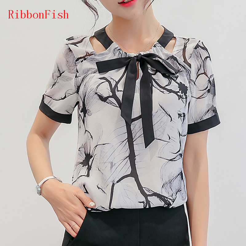 RibbonFish Women Summer Style Chiffon Blouses Shirts Girls Short Sleeve Bow Tie Printed Halter Blusas DD1345