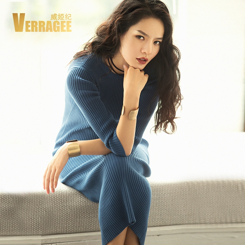 VERRAGEE Brand 2017 New Autumn Winter Pure Color Knit Round Collar Women Custom Fit Long Dress