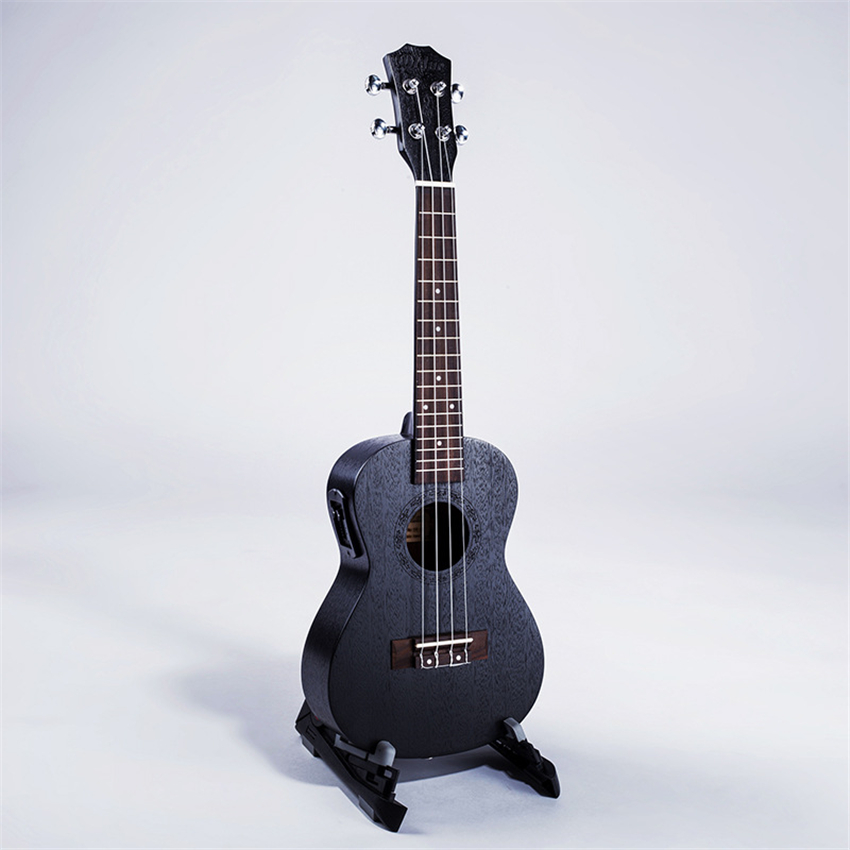 23 Inch EQ Electric Box Ukulele Wood Guitar Black Peach Cork 4 Strings Mini Guitar For Beginner Children And Students