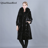 2018 High end Import Luxurious Mink Fur Coat Real Fur Coats High Quality Fox Fur Collar Chaming Overcoat Women Furs