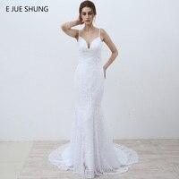 E JUE SHUNG White Vintage Lace Mermaid Wedding Dresses 2017 V Neck Spaghetti Straps Beach Wedding