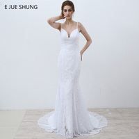 E JUE SHUNG White Vintage Lace Mermaid Wedding Dresses 2017 V Neck Spaghetti Straps Beach Wedding