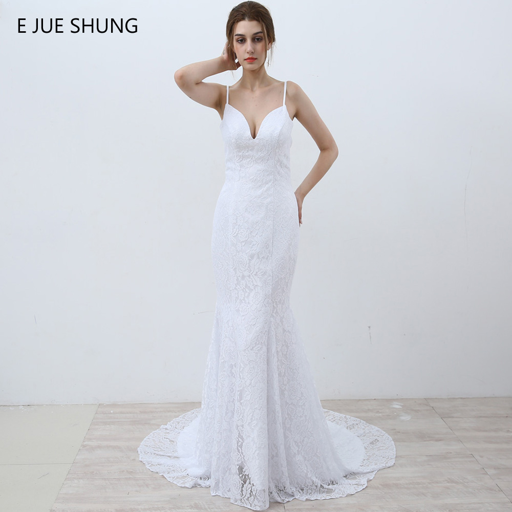 E JUE SHUNG Vit Vintage Lace Mermaid Bröllopsklänningar 2018 V-Neck Spaghetti Straps Beach Bröllopsklänningar Vestidos de Novia