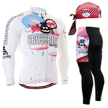 2017 Cartoon Printed Pro Specializing Cycling Jersey Winter Windproof Long Sleeve Men Bicycle Cycling Clothing Set