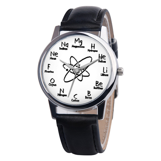 Women's watches casual watches Leather chemical element pattern Leather Watch wo