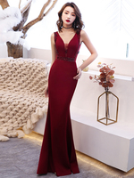 Robe de Soiree Burgundy Pearls Crystals Mermaid Evening Gowns Long Elegant Prom Dresses Sexy Couture Suknia Wieczorowa