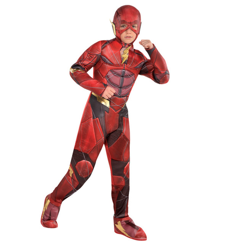 Deluxe Child Boys Fast Flash Justice League The Kids Superhero Muscle Movie Character Halloween Party Cosplay
