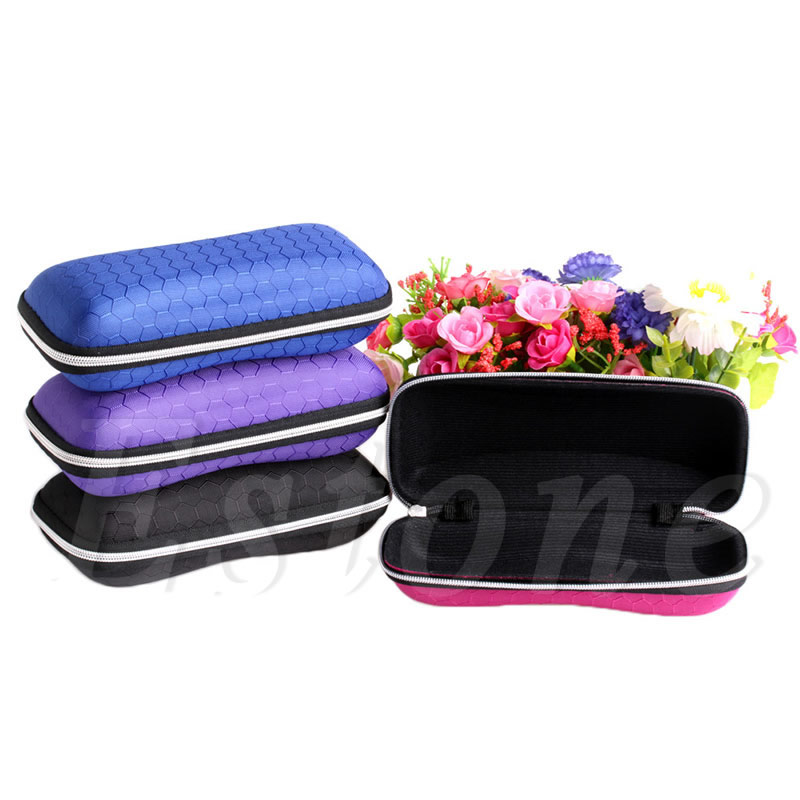 1 Pc Rectangle Grid Zipper Eye Glasses Case Hard Eyewear Box Sunglasses Case Colorful
