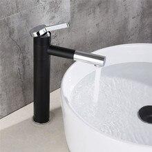 Ванная раковина кран черный хромированный кран для раковины Поворотный 360 градусов Твердый латунный кран для раковины Горячая Холодная раковина смеситель кран Torneira
