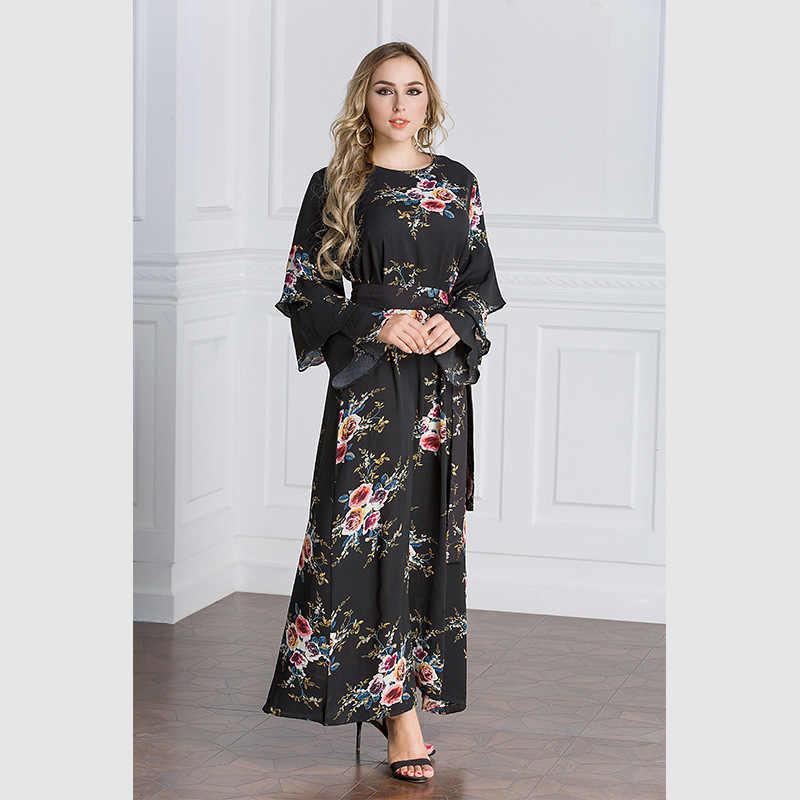 TUHAO プリント花フリル女性のドレスプラスサイズ 6XL 7XL 5XL ドレスフリルフレアスリーブボヘミアンマキシロングドレスファム CM120