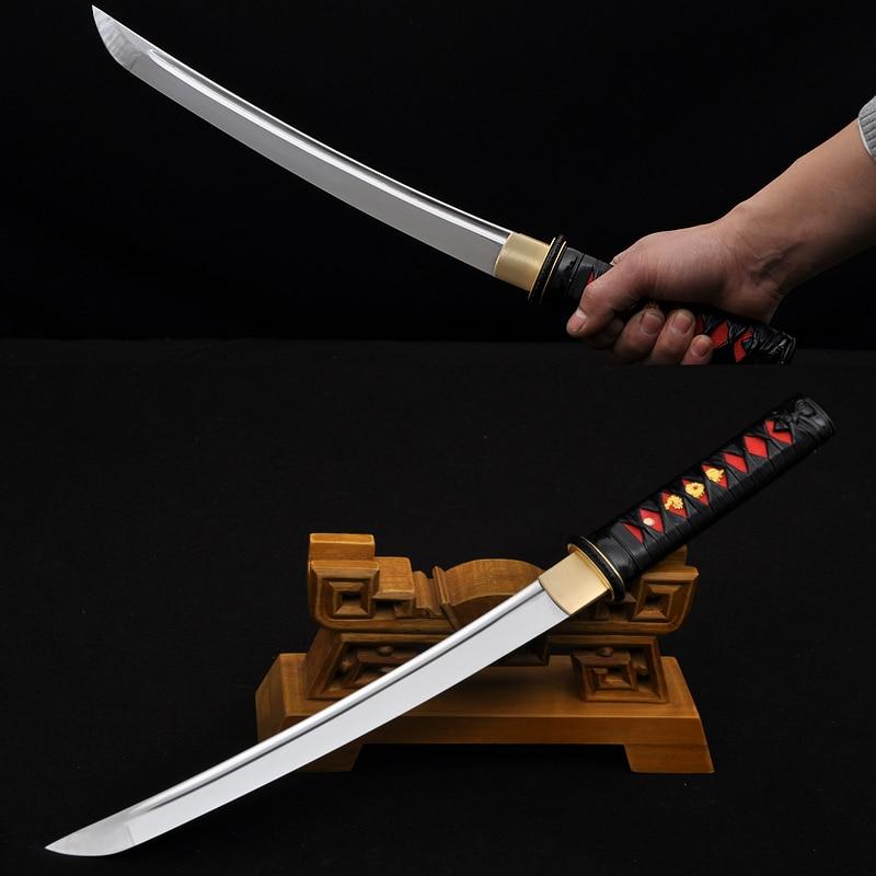 Quenched Oil Japanese Samurai Sword Tanto font b Knife b font Handmade 1060 Full Tang Blade