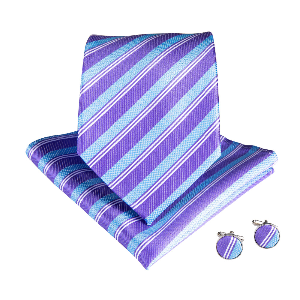 DiBanGu New Luxury 100 Silk Light Purple Skyblue Striped Tie Casual Wedding Fashionable Casual Tie With Pocket Square MJ 7106 in Men 39 s Ties amp Handkerchiefs from Apparel Accessories