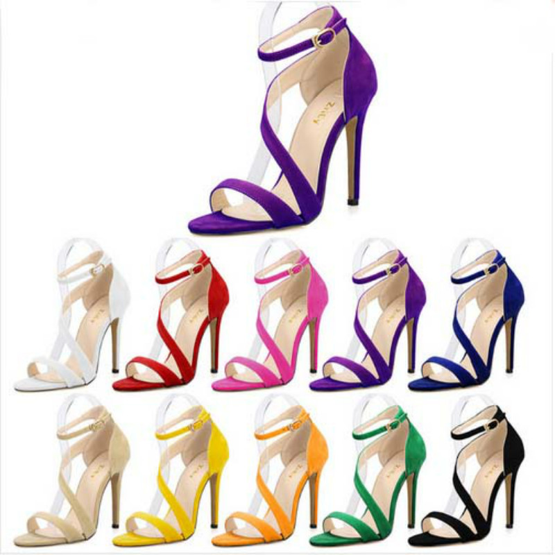 New Women Sexy Summer Sandals Open Toe Ankle Straps High Heels Velvet Wedding Pumps Red Party High Heel Shoes102-8VE