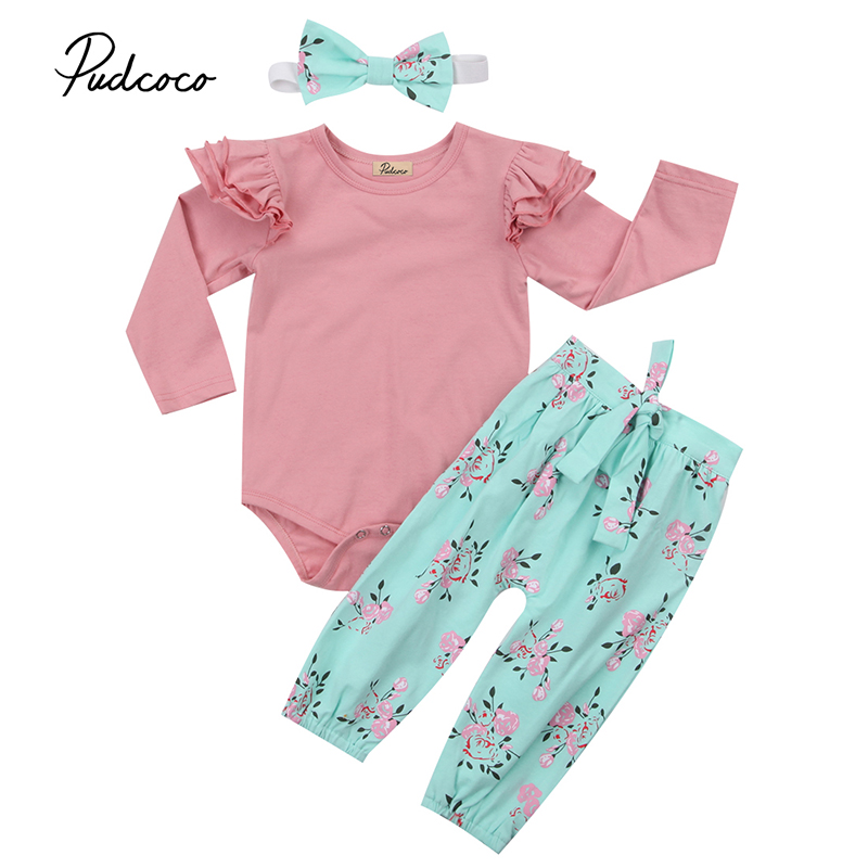 Cute Newborn Infant Baby Girl Clothes Ruffles Long Sleeve Pink Romper Tops Floral Pant Bow Headband