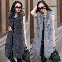S 6XL New Fashion Fur female High Imitation Fox Fur Vest Long suit Collar Fox fur Coat Women Winter Clothes