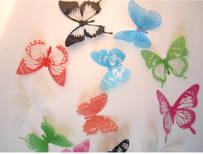 12pcs lot glue pvc 3d butterfly wall sticker crystal home art wall decor bedroom decoration. Black Bedroom Furniture Sets. Home Design Ideas