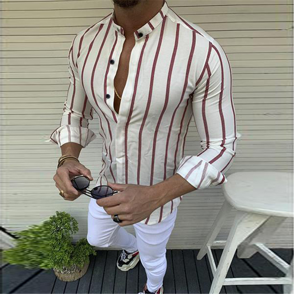 Feitong 2019 New Arrivals Fashion Unique Style Mens Summer Ethnic Pattern Printed Half Sleeve Henley Shirts Blouse Striped Shirt