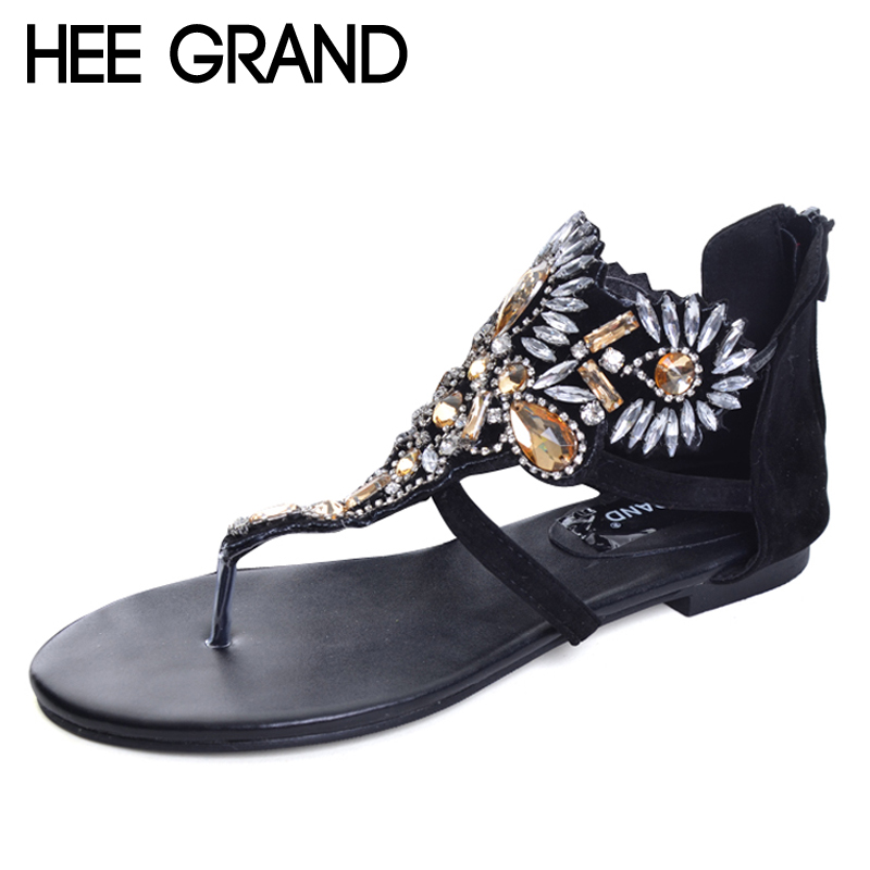 HEE GRAND Crystal Gladiator Sandals Summer Flip Flops Casual Shoes Woman Slip On Flats Rhinestone Women Shoes Size 35-40 XWZ2998 quik lok a156 bk eu