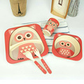 5pcs/set Character baby Plate bow cup Forks Spoon  Dinnerware feeding Set,100% bamboo fiber Baby cute  tableware set ykd-22