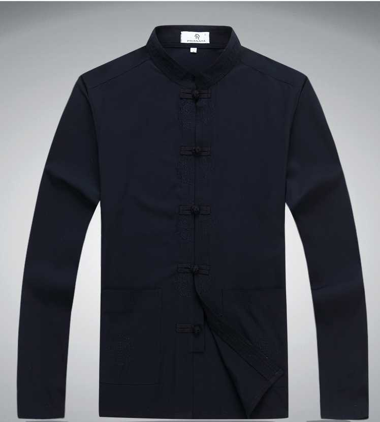 180e88637 Men New Arrival Shirt Chinese Traditional Style Kung Fu Long Shirts Fashion  Brand Casual Shirt S M L