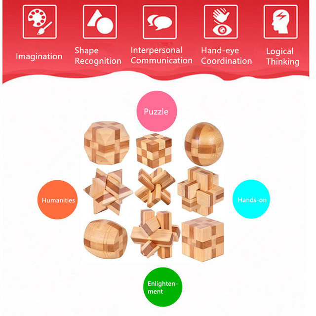 Wooden Interlocking Burr Puzzles Toy For Kids 3D Puzzle Montessori IQ Mind Wooden Magic Teaser Game Adults Gifts Educational Toy