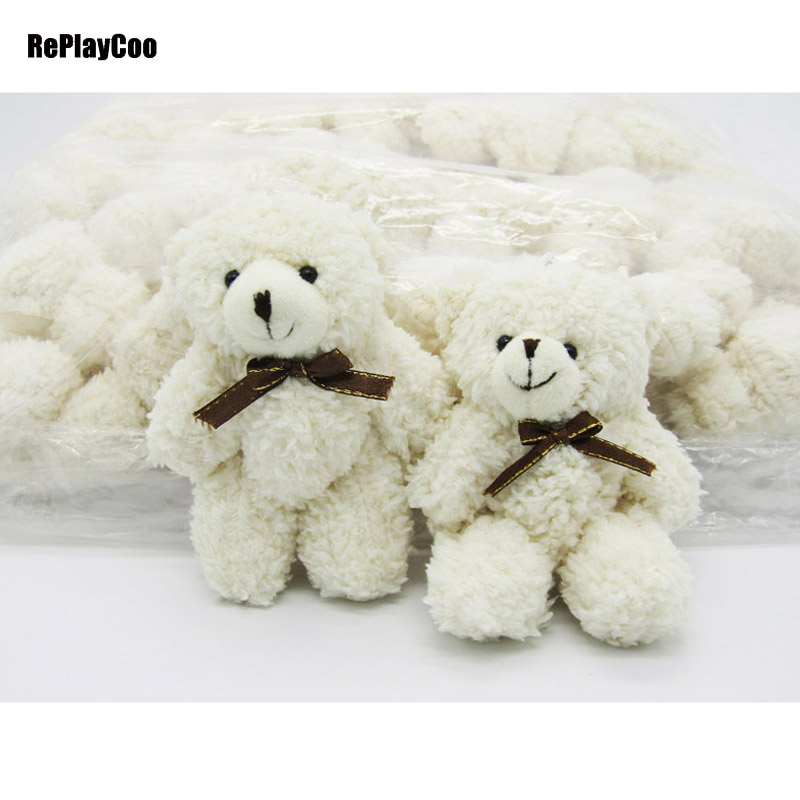 40PCS LOT Kawaii Small Joint Teddy Bears 12CM Stuffed Plush With Chain White Toy Teddy Bear