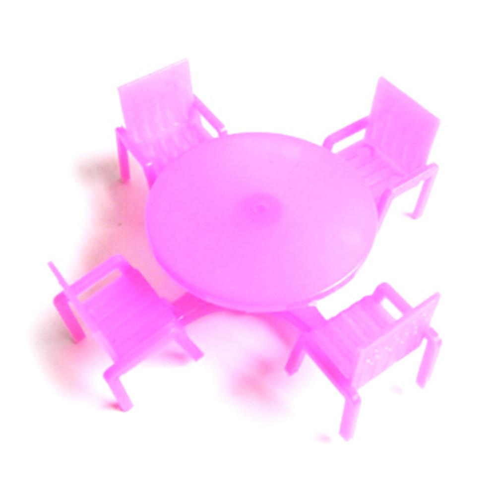 1 Set (4 Stoelen + 1 Bureau) Roze Nursery Baby Stoel Bureau Voor Meisje Pop Poppenhuis Meubelen, Speelhuis Speelgoed Elegante Verschijning