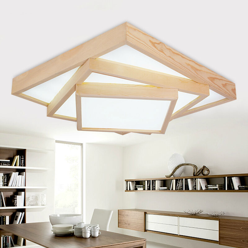Modern square OAK acrylic multi floyer ceiling lights fixture home deco living room wood led ceiling lamp modern japanese tatami wood octagon led ceiling lamp bried chinese home deco living room acrylic yurts ceiling light fixture