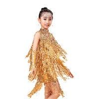 2016 Unique Fashion Luxury Sequined Tassel Children Latin Dance Dresses Girls Princess Gem Frontal Chain Samba