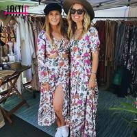 Jastie Portofino Maxi Dress Women V Neck Rose Print Wrap Dress Boho Chic Hippie Vacation Beach